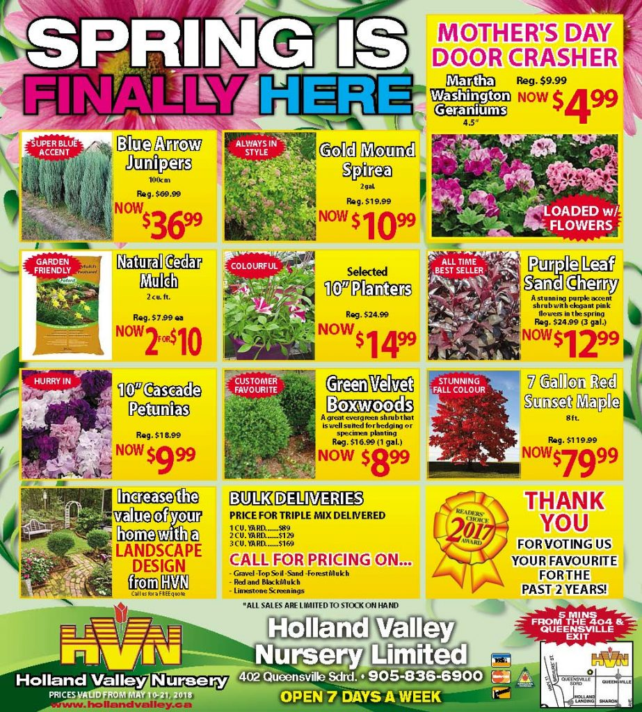Mothers Day Specials 2018 at Holland Valley Nursery